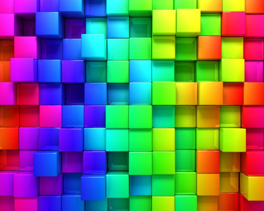 3D Colorful Cubes  PowerPoint Background