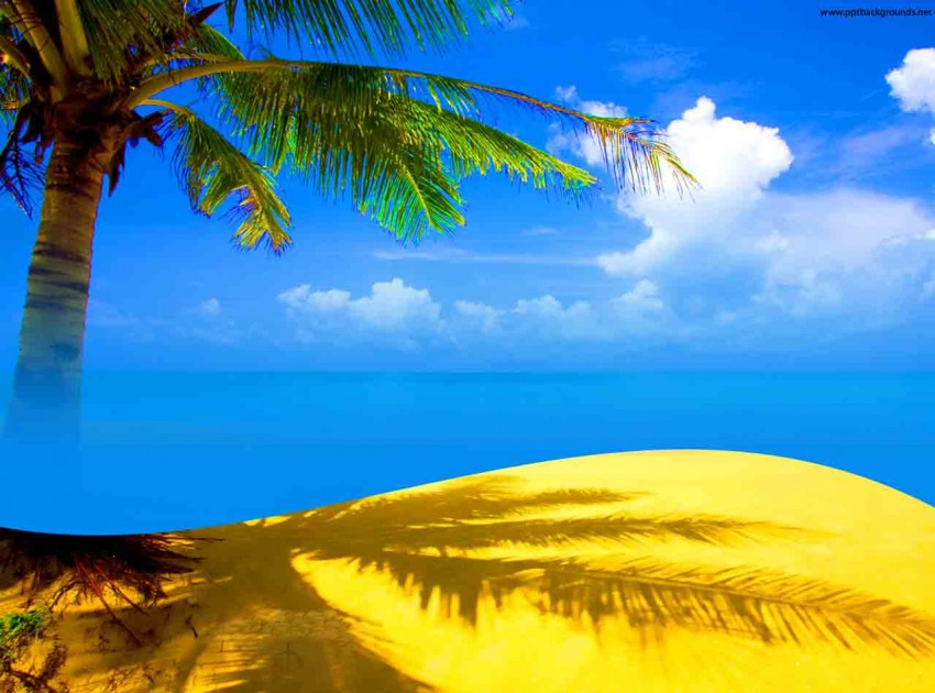 Beach With Tree PowerPoint Background Templates