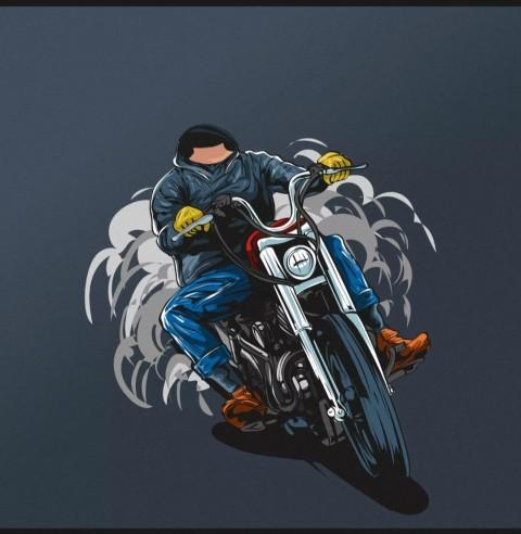 Bike Rider Cartoon Body Background Without Head