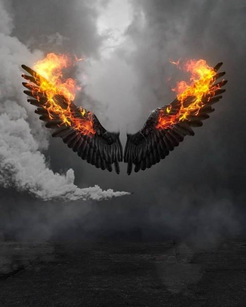 Black Fire Wings PicsArt CB Editing HD Background