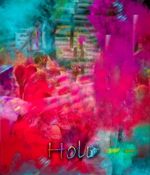 Colorful Happy Holi Photo Editing Background