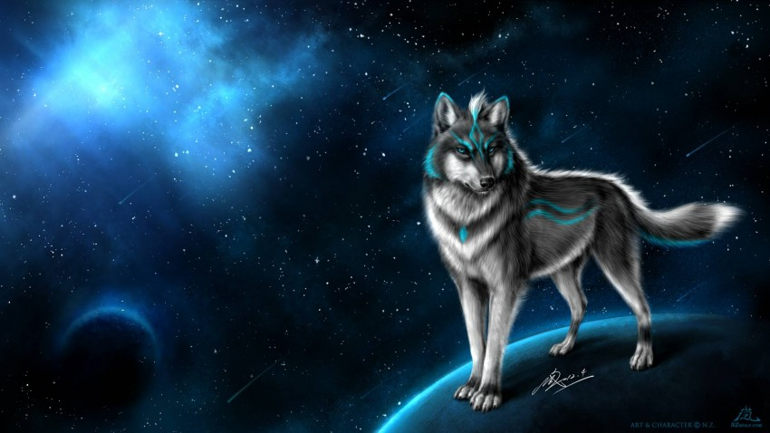 Galaxy Wolf Background Full HD Wallpaper Download