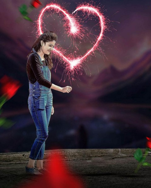 Girls Purpose Valentine Day Photo Editing Background With Girls
