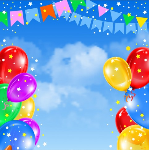 Happy Birthday With Balloon PowerPoint Templates Background