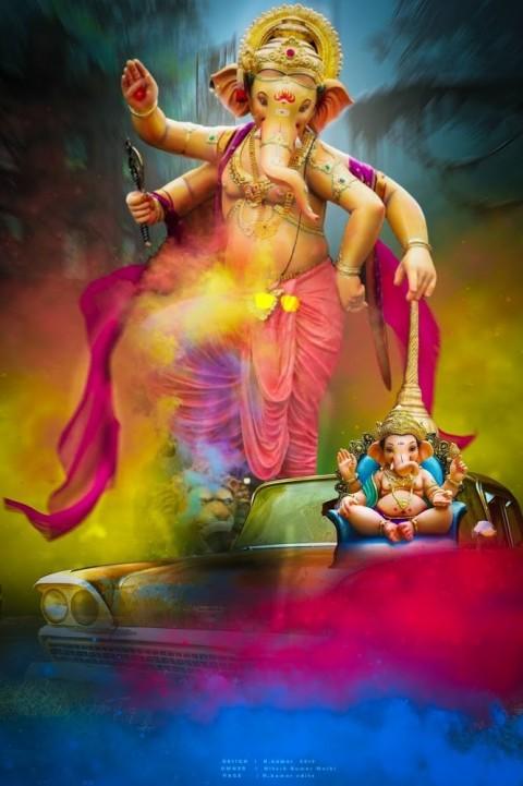 Happy Ganesh Chaturthi Big Size Ganpati Editing Background