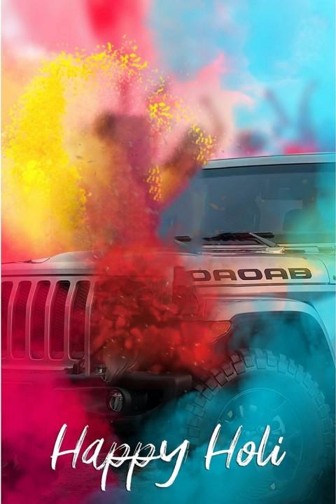Happy Holi CB Picsart Background With Jeep