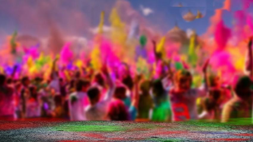 Happy Holi Celebrate People  Editing Background