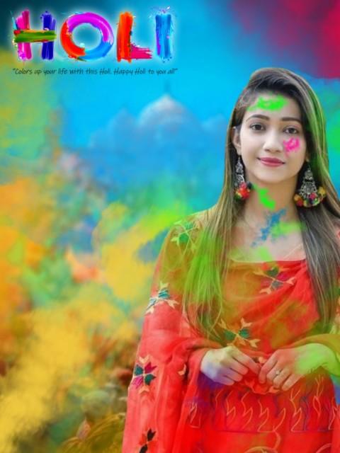 Happy Holi Editing Girl Background