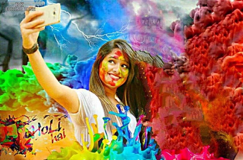 Happy Holi Photo Editing Background With Selfie Girls
