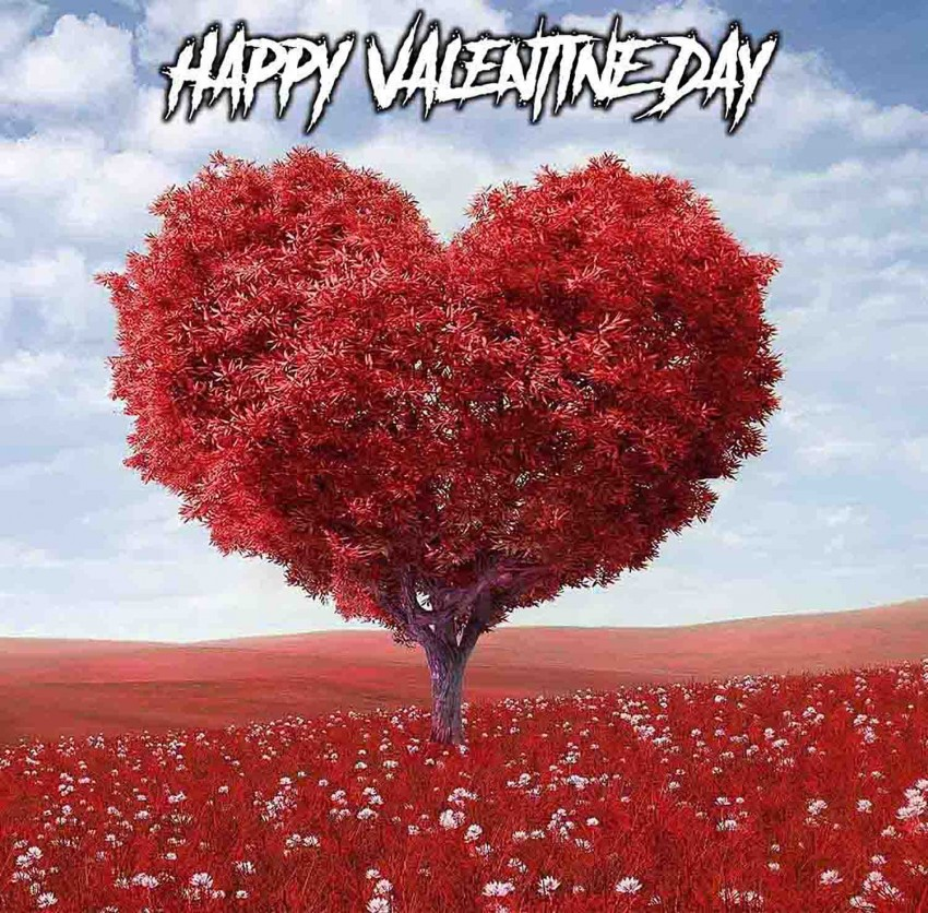 Happy Valentine Day Photo Editing Background With Tree