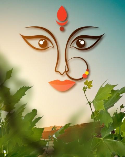 Navratri Maa Durga Face CB PicsArt Editing Background