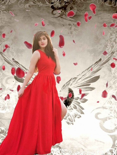 New Valentine Day Photo Editing Background With Hot Girls In Red Dress