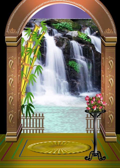 Studio Background  With Waterfall