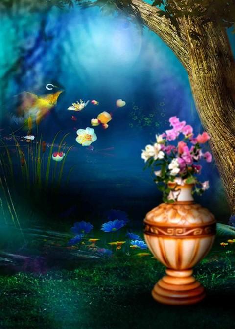 Studio Background With Flower
