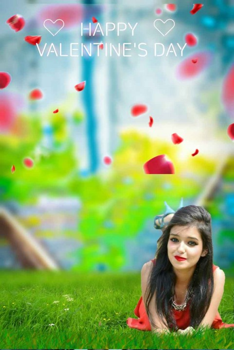 Valentine Day Photo Editing Background With Cute Girls