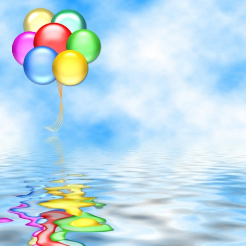 Water Birthday With BAllon PowerPoint Templates Background