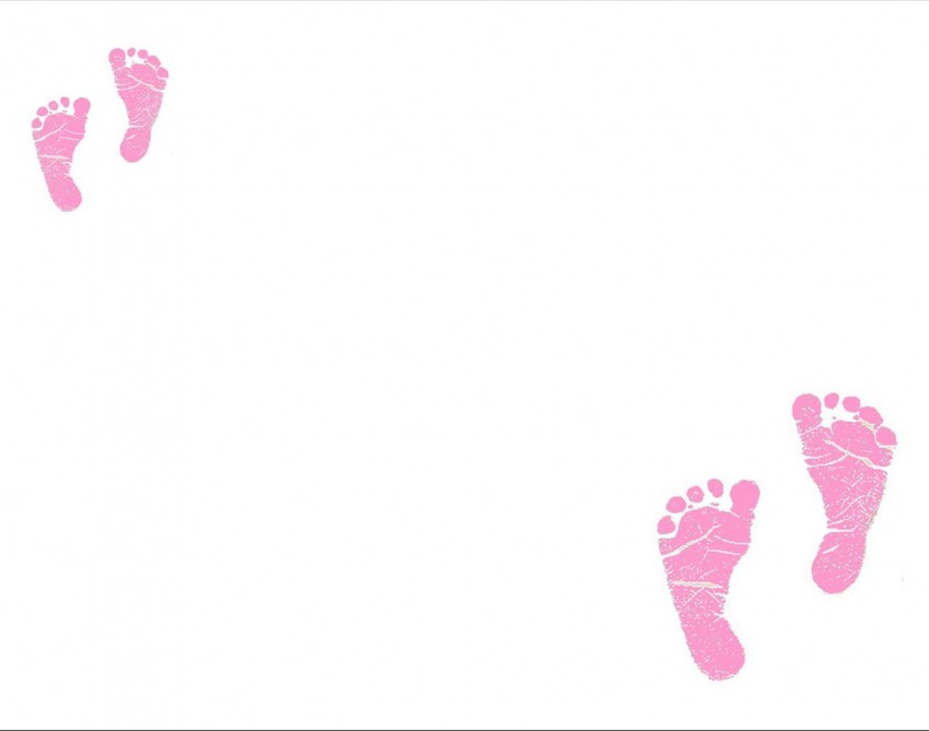 White Baby Foot Print PPT PowerPoint Background